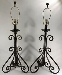 Vtg. PAIR Table Lamps Wrought Iron Hand Forged Iron 3 Way Scroll Twisted Metal $131.25