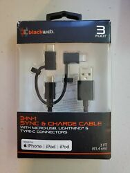 3 in 1 Sync amp; Charge Cable w Micro USB Lightning amp; Type C Connectors 3ft. Blk $9.95
