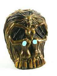 Unusual Vintage Desk Pencil Holder Dali In Voluptas Mors skull nude skeleton $149.99