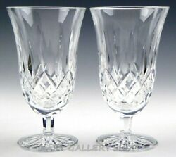 Waterford Crystal LISMORE 6.5quot; FOOTED ICED TEA BEVERAGE GLASSES Set 2 Excellent $119.00