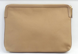 Martha Stewart Large Canvas Zip Top Pouch with Leather Trim Fawn $19.99