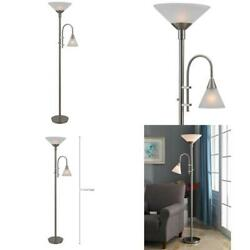 Brady 72 in. Brushed Steel Torchiere with Reading Arm $192.99