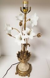 Vintage lamp glass flowers metal base hollywood Regency style Made In Italy $129.97