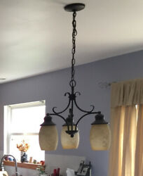 Set of 3 Frosted Beige Hanging Pendant Shades Glass Globes Lighting $45.00