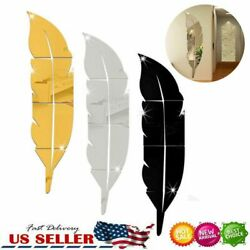 3D DIY Feather Mirror Home Room Decal Vinyl Art Stickers Wall Decor Removable $7.12