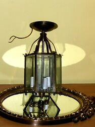 Hexagonal Brass Lantern Chandelier with 6 glass panels19 th NULCO CENTURY STYLE $120.00