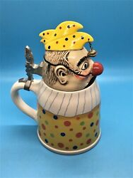 Gerzit Germany Beer Stein Clown Jester Mint Condition 8 inch tall $75.00
