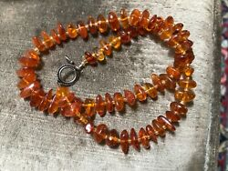 """Vintage Silver Amber Necklace Beaded chunk necklace 18.7 grams 18"""" L $28.00"""