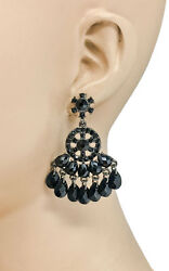 2quot; Long Chandelier Earrings Black Rhinestones amp; Lucite Beads Goth Casual $11.25