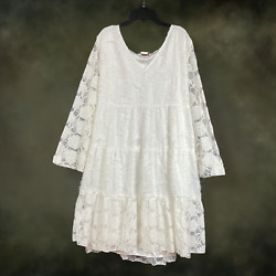 Plus Size Boho Peasant Vintage Ruffle Fringe White Lace Tunic Dress 1XL 2XL $49.00
