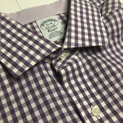 Brooks Brothers Mens Dress Shirt Purple checkered non iron classic size 15 34 $14.95