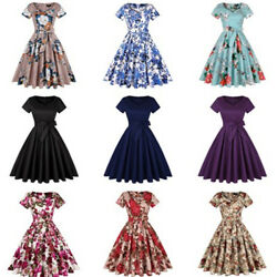 Women Solid Formal Bowknot Floral Cocktail Vintage A line V neck Dress Party US $23.99