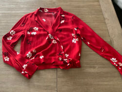 ABERCROMBIE FITCH WOMEN'S XS Red Floral LONG SLEEVE TIE WRAP SHIRT RV $48 NWOT $7.50