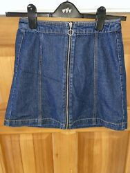 Blue Denim Short Skirt Zip And Stitch Detail Size 10 Hamp;M Casual Cool Free Pamp;P GBP 5.95