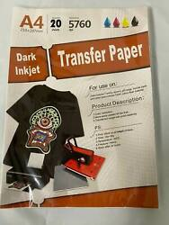 New Inkjet Iron On Heat Transfer Paper For Dark fabric 20 Sheets 8.5quot;x 11quot; A4 $17.98
