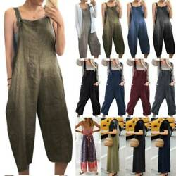 Womens Wide Leg Pants Strappy Dungaree Jumpsuit Casual Loose Playsuit Rompers US $13.99