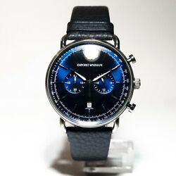 Mens AR1105 Chronograph DrkBlueLeather Band Blue Dial 43mm Emporio Armani Watch $195.00