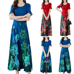Womens Floral Short Sleeve Long Dresses Ladies Summer Casual Holiday Beach Dress $24.49