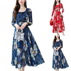 Women Long Sleeve Floral Printed Dress Summer Holiday Casual Party Long Dresses $24.19