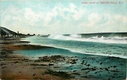 1909 RHODE ISLAND POSTCARD: SCENE OF HEAVY SURF AT WATCH HILL RI $2.99