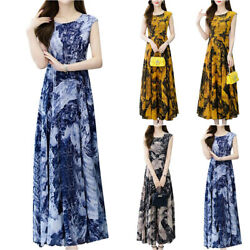 Womens Summer Sleeveless Long Dress Ladies Casual Evening Party Long Dresses US $21.99