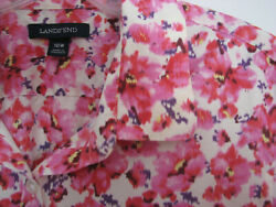 Womens Lands End Shirt Blouse Plus Pink Floral ¾ Sleeve Size 18W Mint $21.50