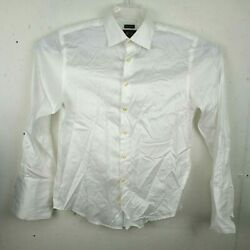 Pronto Uomo Mens Dress Shirt Sz 15.5 32 33 White French Cuff Cotton Non Iron $15.99