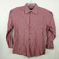 Perry Ellis Portfolio Mens Dress Shirt 16 ½ 34 35 L Red Stripe LS Wrinkle Free $13.99