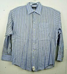 Nautica Mens Dress Shirt 16 ½ 36 37 L Blue Gold Stripe Long Sleeve Cotton $17.99