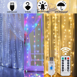 300 LED Curtain Fairy String Lights USB Twinkle Window Party Wedding with Remote $11.89