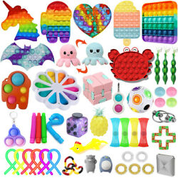 1 100 Pack Fidget Sensory Toy Set Stress Reliever Autism Anxiety Kids Adults Toy $11.99