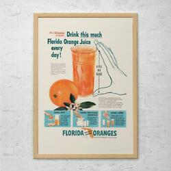 Drink This Much Florida Orange Juice Everyday Poster Canvas Wall Art Kitchen $27.99