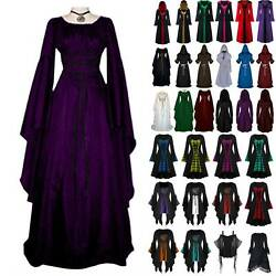 Womens Retro Renaissance Gothic Dress Medieval Cape Gown Cosplay Costume Dresses