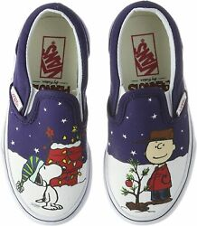 Vans Off The Wall Kids X Peanuts Charlie Brown Snoopy Christmas Slip On Shoes $65.00