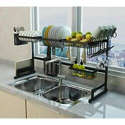 Stainless Steel Black Dish Drying Rack Over Kitchen Sink Dishes and Utensils $72.24