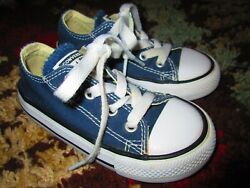 Converse Chuck Taylor All Star Boys Ox Sneakers Blue 7J237 Lace Up Low Top Sz 7 $17.09
