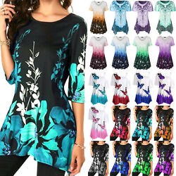 Summer Womens Casual Loose Tunic Tops Blouse Short Sleeve Floral Print T Shirt $13.58