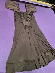 Designer cocktail sundress brown sexy sumptuous short sleeve silky 6 8 See Photo