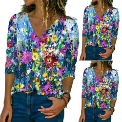 Women Casual V Neck Printed T Shirt Top Ladies Floral Loose Comfy Blouse Tunic $14.15