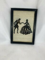 vintage Stitched Tapestry picture framed wall hanging Lady And Man Dancing $23.95