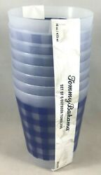 TOMMY BAHAMA SET OF 8 OUTDOOR TUMBLER CUPS 16 OZ BLUE CHECKERS NEW W TAG $19.99