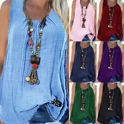 Womens Boho Sleeveless Vest T Shirt Loose Tunic Blouse Tank Tops Tee Plus Size $14.24