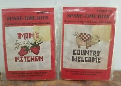 Vintage Lot of 2 Spare Time Country Art Mini Beginner Counted Cross Stitch Kit $7.99