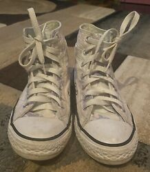 Girls High Top Converse White With Purple Palm Tree Design Size 2 $25.99