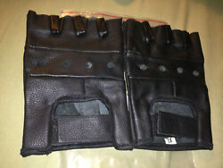 Fingerless Leather Gloves XL Black First Manufacturing Motorcycle Biker $10.00