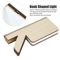 Wooden Paper LED Folding Book Lamp USB Rechargeable Night Light For Reading Us $30.02