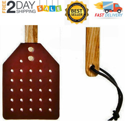 NEW Amish Leather Fly Swatter With Wood Handle Brown $30.99