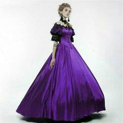 Lady Lolita Victorian Gothic Dress Lace Off shoulder Steampunk Evening Retro Red