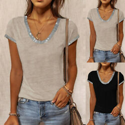 Summer Women Sequin Short Sleeve T Shirt Blouse Casual Tops Solid Tunic Shirts $8.00