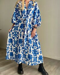 Hamp;M Boho Dress Kaftan Bloggers Favorite Midi Puff Balloon Sleeve Floral Print $89.00